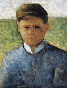 Young Peasant in Blue c1881 - Georges Seurat reproduction oil painting