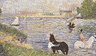 Horses in the Water 1883 - Georges Seurat reproduction oil painting