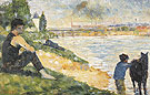 Study for Une baignade Le Cheval Noir 1883 - Georges Seurat reproduction oil painting