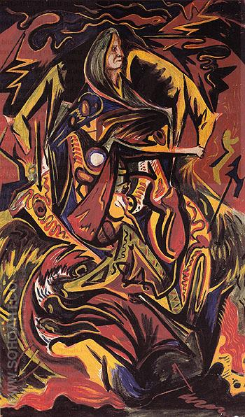 Composition with Woman c1938 - Jackson Pollock reproduction oil painting