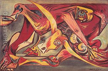 Man Bull Bird c1938 - Jackson Pollock reproduction oil painting