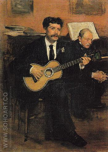 Lorenzo Pagans and Auguste De Gas c1871 - Edgar Degas reproduction oil painting