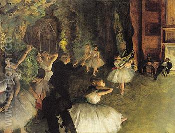Ballet Rehearsal on Stage 1874 - Edgar Degas reproduction oil painting