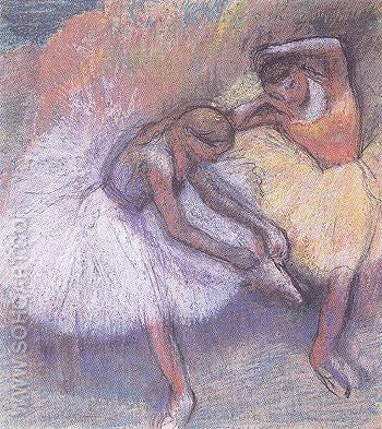 Two Dancers c1898 - Edgar Degas reproduction oil painting