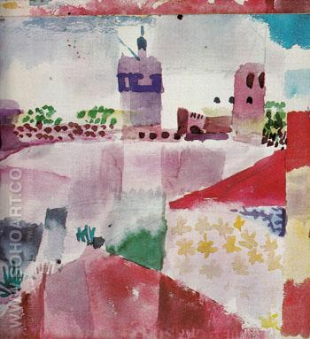 Hammamet with Mosque 1914 - Paul Klee reproduction oil painting