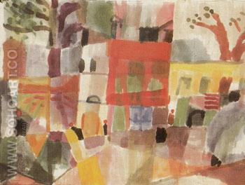 Red and Yellow Houses in Tunis 1914 - Paul Klee reproduction oil painting