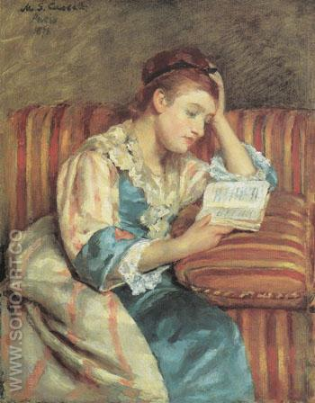 Mrs Duffee Seated on a Striped Sofa Reading 1876 - Mary Cassatt reproduction oil painting