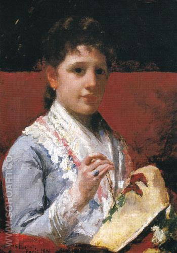 Mary Ellison Embroidering 1877 - Mary Cassatt reproduction oil painting