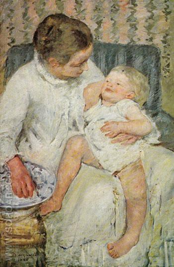 Mother About to Wash her Sleepy Child 1880 - Mary Cassatt reproduction oil painting