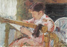 Lydia Working at a Tapestry Frame c1881 - Mary Cassatt reproduction oil painting