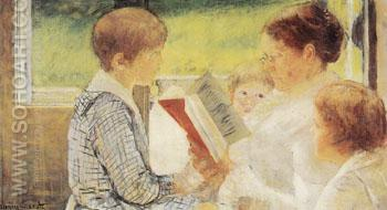 Reading 1880 - Mary Cassatt reproduction oil painting