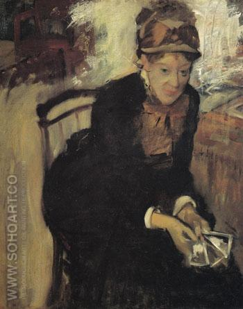 Mary Cassatt Seated Holding Cards c1880 - Mary Cassatt reproduction oil painting