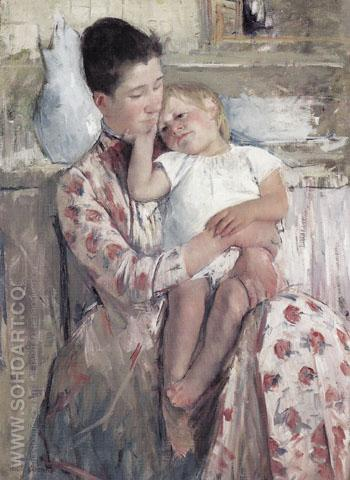 Mother and Child 1889 - Mary Cassatt reproduction oil painting
