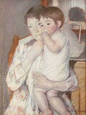 Baby on his Mothers Arm Sucking his Finger 1889 - Mary Cassatt reproduction oil painting