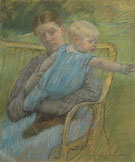 Mathilde Holding a Baby Who Reaches out to the Right c1889 - Mary Cassatt reproduction oil painting