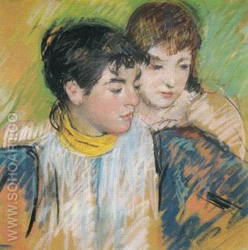 Two Sisters Study for The Banjo Lesson c1894 - Mary Cassatt reproduction oil painting