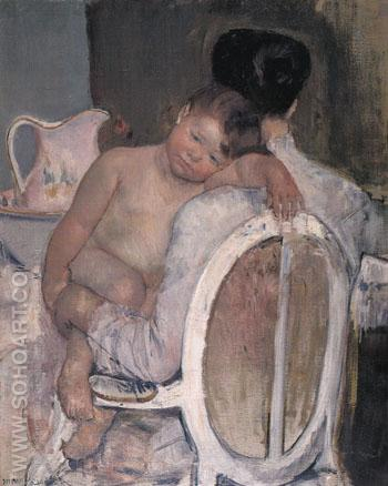 Mother Holding a Child in Her Arms c1890 - Mary Cassatt reproduction oil painting