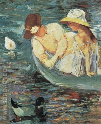 Summertime c1894 - Mary Cassatt reproduction oil painting