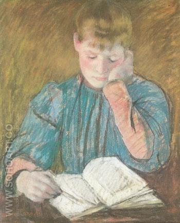 The Pensive Reader c1894 - Mary Cassatt reproduction oil painting
