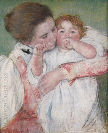 Little Ann Sucking her Finger Embraced by her Mother 1897 - Mary Cassatt reproduction oil painting