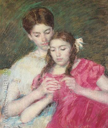 The Crochet Lesson 1913 - Mary Cassatt reproduction oil painting