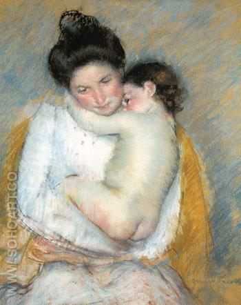 Mother and Child c1900 - Mary Cassatt reproduction oil painting