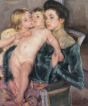 The Caress 1902 - Mary Cassatt reproduction oil painting