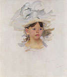 Sketch of Ellen Mary Cassatt in a Big Blue Hat c1905 - Mary Cassatt reproduction oil painting
