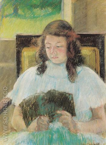 Young Girl Reading c1900 - Mary Cassatt reproduction oil painting
