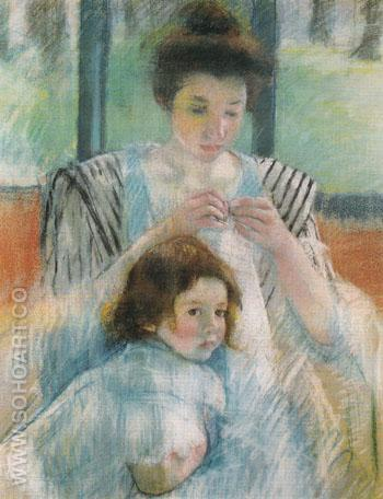 Mother and Child 1900 - Mary Cassatt reproduction oil painting