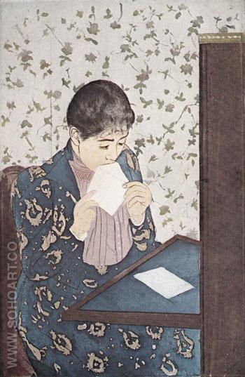 The Letter 1891 - Mary Cassatt reproduction oil painting