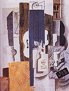 Violin Bottle and Glass 1913 - Pablo Picasso reproduction oil painting