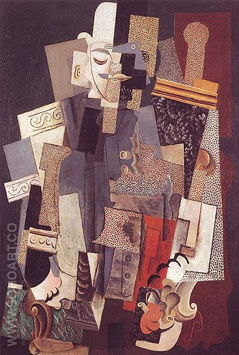 Man in a Bowler Hat Seated in an Armchair Man with Pipe 1915 - Pablo Picasso reproduction oil painting
