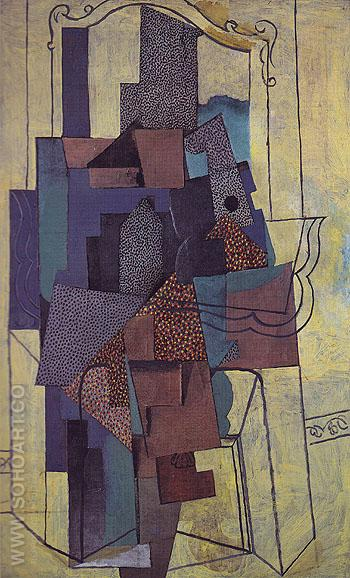 Man Before a Fireplace 1916 - Pablo Picasso reproduction oil painting
