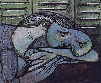 Sleeping Before Green Shutters 1936 - Pablo Picasso reproduction oil painting