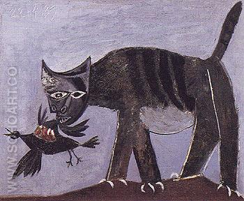 Cat and Bird 1939 - Pablo Picasso reproduction oil painting