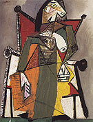 Woman Sitting in an Armchair 1941 - Pablo Picasso reproduction oil painting