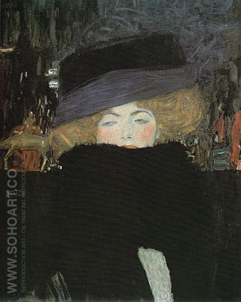 Lady with Hat and Feather Boa 1909 - Gustav Klimt reproduction oil painting