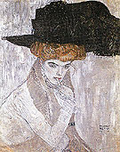 Lady with Hat and Feather Boa 1910 - Gustav Klimt reproduction oil painting
