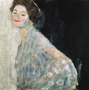 Portrait of a Lady in White c1917 - Gustav Klimt reproduction oil painting