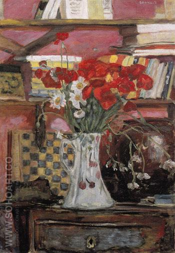 Vase of Flowers and Checkers 1912 - Pierre Bonnard reproduction oil painting