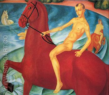 Bathing of a Red Horse 1912 - Kuzma Petrov Vodkin reproduction oil painting