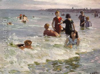 At Coney Island No2 - Edward Henry Potthast reproduction oil painting