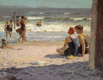Beach Scene - Edward Henry Potthast reproduction oil painting