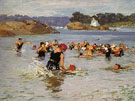 The Swimming Lesson - Edward Henry Potthast reproduction oil painting