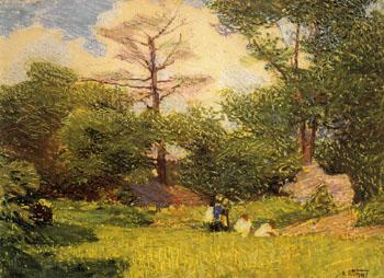 Central Park c1915 - Edward Henry Potthast reproduction oil painting