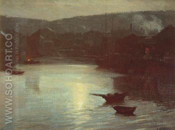 Evening Harbor - Edward Henry Potthast reproduction oil painting