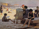 Baby Carriage on Beach - Edward Henry Potthast reproduction oil painting