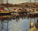 The Harbor and Dock - Edward Henry Potthast reproduction oil painting