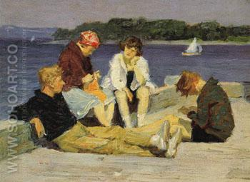 Beach Scene No4 - Edward Henry Potthast reproduction oil painting